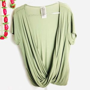 Free People Green Low Cross Relaxed Shirt